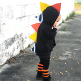 Halloween Candy Corn Dino Hoodie - Black Jacket - Wolfe and Scamp- Halloween- dino-dinosaur- scales- spikes