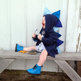 Kids Navy Blue Ombre Dino Hoodie - Navy Blue Ombre-saurus
