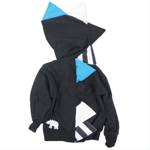 Baby Toddler Kids Black Dinosaur Hoodie Kids Dress Up -- Teal Stripe Dino