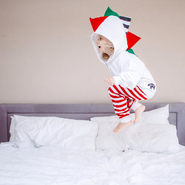 *LIMITED EDITION* Baby/Toddler/Kids Christmas Gift Dino Hoodie -- White Christmas - Wolfe and Scamp