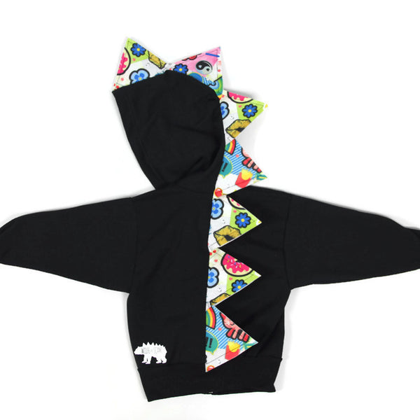Baby Toddler Kids Summer Spikes Dinosaur Hoodie - Pop Art - Wolfe and Scamp