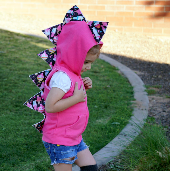 Toddler Pink Ice Cream Girls Dino Hoodie