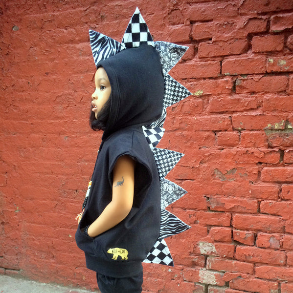 Black and White Unisex Fashion Kids Dino Hoodie - Monochrome Madness - Wolfe and Scamp