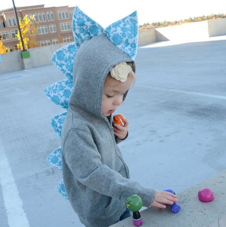 Halloween Candy Corn Dino Hoodie - Gray Jacket