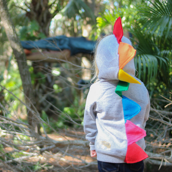 Rainbow Dinosaur Hoodie for Babies, Toddlers and Kids - Gray Jacket - Wolfe and Scamp