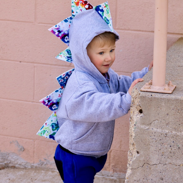 Baby Toddler Dinosaur Hoodie -- Watercolor Spikes -- Proceeds Support Autism Awareness - Wolfe and Scamp