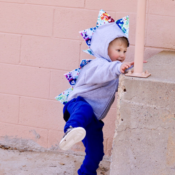 Baby Toddler Dinosaur Hoodie -- Watercolor Spikes -- Proceeds Support Autism Awareness - Wolfe and Scamp- autism- awareness- watercolor