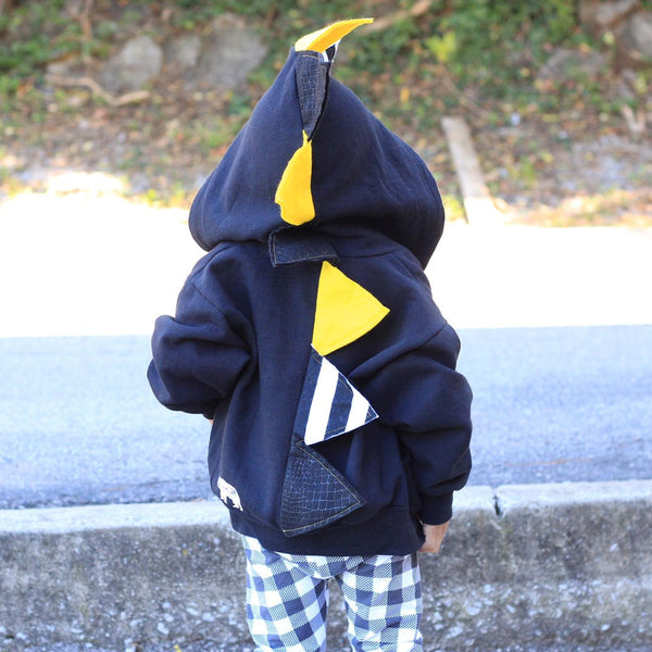 Baby Toddler Kids Novelty Black Dinosaur Hoodie - Yellow and Black Stripes