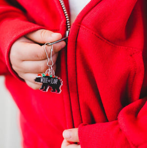 Dinosaur Zipper Pulls and Backpack Charms - Happy Rawrlidays Christmas Rex