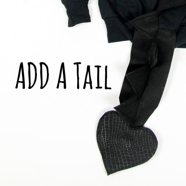 Add A Tail - Customize Your Hoodie - Turn a Dino Into a Dragon - Wolfe and Scamp- tail, dino, spike