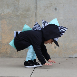 *NEW* Black + White Dino Hoodie for Kids - Mint Monochrome