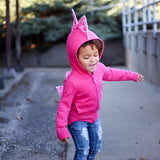 Cute Pink Geometric Baby Girl Dino Hoodie - Pink Wafflecone-a-saurus - Wolfe and Scamp