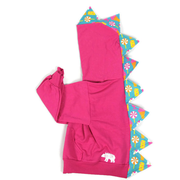 Baby Toddler Kids Pink Dinosaur Hoodie - Candyland Spikes - Wolfe and Scamp