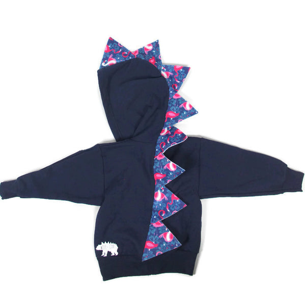 Kids Navy Blue Dinosaur Hoodie - Pink Flamingos - Wolfe and Scamp