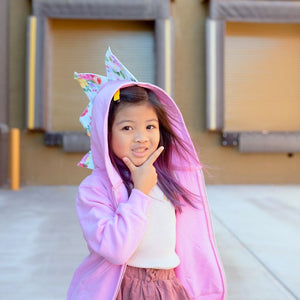pink dinosaur hoodie for preschool and toddler girls