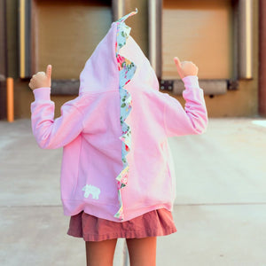 pink dinosaur hoodie for girly girls