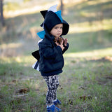 Baby Toddler Kids Black Dinosaur Hoodie Kids Dress Up -- Teal Stripe Dino -- Wolfe and Scamp