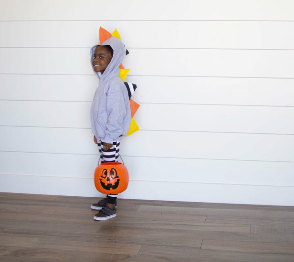 *LIMITED EDITION* Halloween Candy Corn Dino Hoodie - Gray Jacket - Wolfe and Scamp