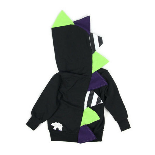 *LIMITED EDITION* Halloween Dinosaur Hoodie - Beetlejuice! Beetlejuice! Beetlejuice! - Wolfe and Scamp- halloween- black- monocrhome- spikes