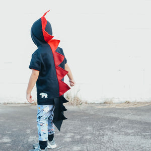kids black dragon costume hoodie with red spikes for pretend play