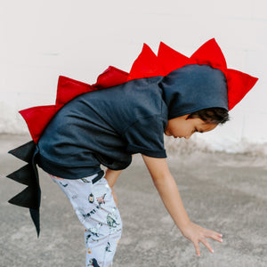 kids black dragon costume hoodie with red spikes