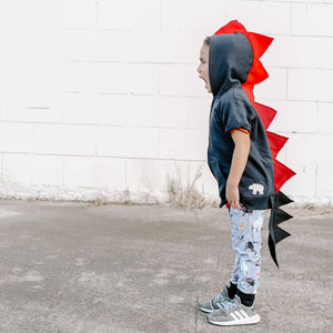 toddler black dragon costume hoodie with red spikes