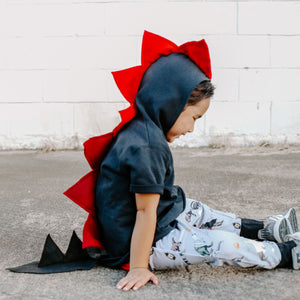 cool kids gift black and red dragon hoodie for dressup and play