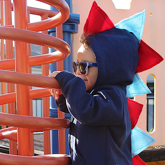 Toddler Boy Dino Hoodie - Red and Blue Dinosaur Hoodie for Birthday Boy - Wolfe and Scamp