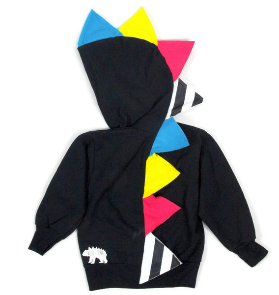 Baby Toddler Kids Neon Stripe Spikes Dinosaur Hoodie - Party Stripes - Wolfe and Scamp
