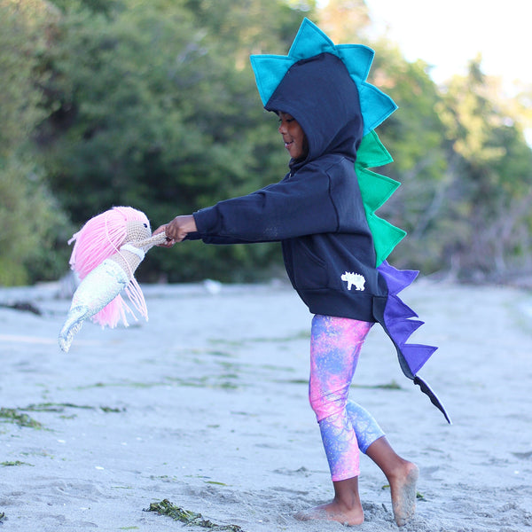 Baby/Toddler/Kids Black Dragon Hoodie with Tail - Magical Mermaid Dragon - Wolfe and Scamp