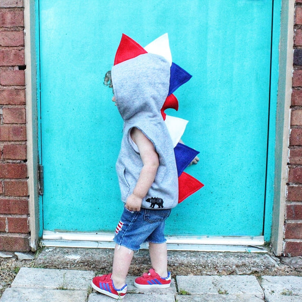Limited Edition Patriotic  Baby Toddler Kids Dino Hoodie --- Red, White and Blue - July 4th Spikes - Wolfe and Scamp