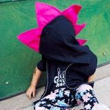Hot Pink Dino Hoodie for Girls - Pink Punkasaurus Dinosaur Hoodie - Wolfe and Scamp