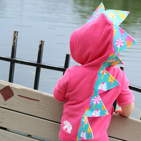 Baby Toddler Dinosaur Hoodie -- Watercolor Spikes -- Proceeds Support Autism Awareness