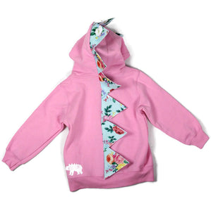 pink dinosaur hoodie with flower print spikes
