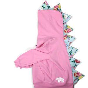 toddler pink dinosaur hoodie for girls with rose print spikes
