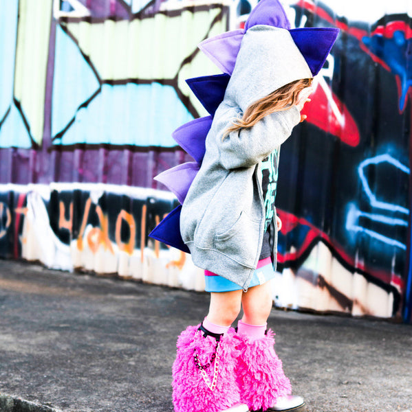 Girls Purple Ombre Dino Hoodie -- Ultra Violet Purple Dinosaur Hoodie for Kids - Wolfe and Scamp