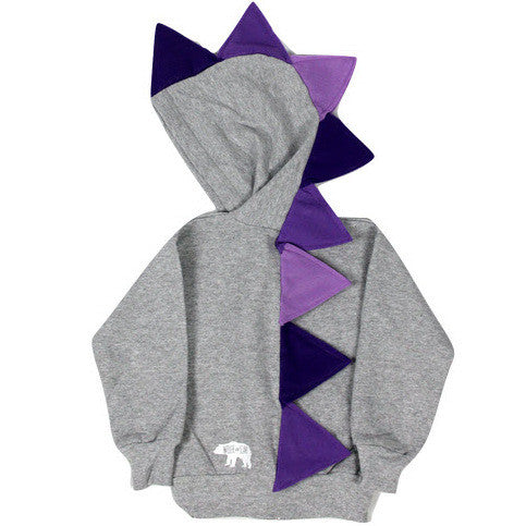 Girls Purple Ombre Dino Hoodie -- Ultra Violet Purple Dinosaur Hoodie for Kids