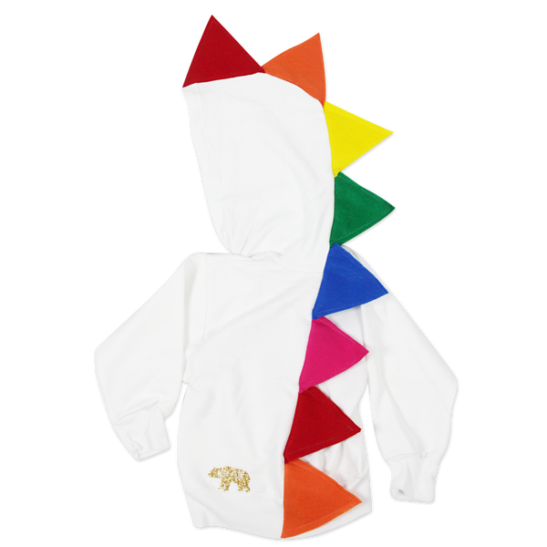 Rainbow Dinosaur Hoodie for Baby/Toddler/Kids - White Jacket - Wolfe and Scamp