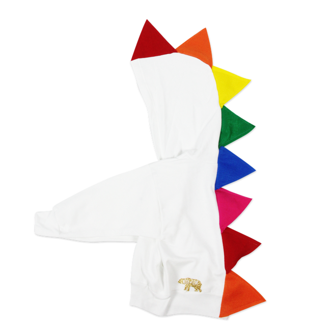 Rainbow Dinosaur Hoodie for Baby/Toddler/Kids - White Jacket