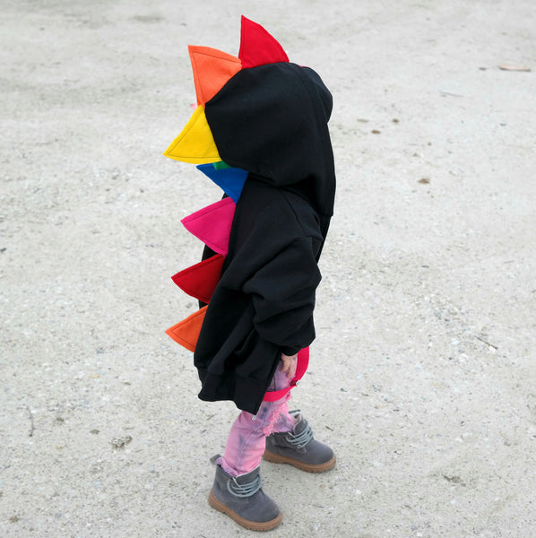 Rainbow Dinosaur Hoodie for Babies, Toddlers and Kids - Rainbow Dinosaur - Wolfe and Scamp