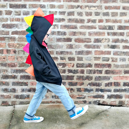 Rainbow Dinosaur Hoodie for Babies, Toddlers and Kids - Gray Jacket