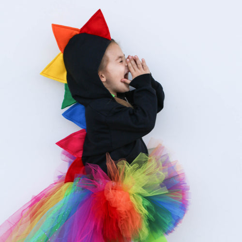 Rainbow Dinosaur Hoodie for Babies, Toddlers and Kids - Honeyskull Collab - Wolfe and Scamp