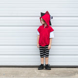 Baby Toddler Kids Stripe Spikes Dinosaur Hoodie - Christmas Red Stripes - Wolfe and Scamp