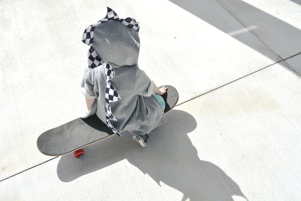 Cute Toddler Dino Hoodie - Rad Checkerboard Skateboard Motocross Dinosaur Jacket - Wolfe and Scamp