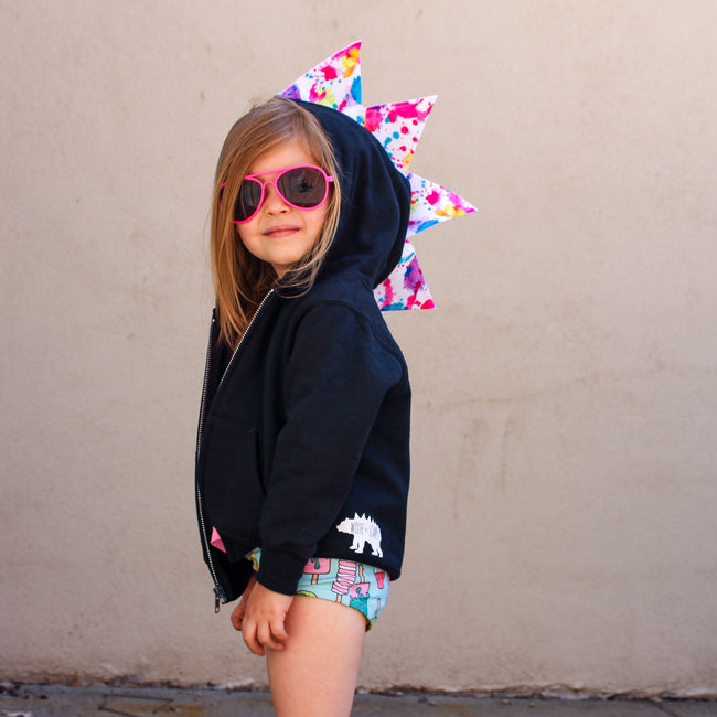 Baby Toddler Kids Summer Spikes Dinosaur Hoodie - Paint Splatter - Wolfe and Scamp