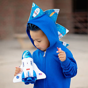 blue dinosaur hoodie with rocket ship spikes for toddlers
