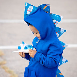 dinosaur hoodie for toddler boy with rocket ship spikes