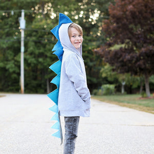 blue ombre dinosaur hoodie with tail handmade for toddlers and kids