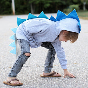 toddler dragon dressup hoodie with blue ombre spikes