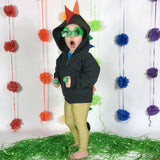 LIMITED EDITION St Patty's Rainbow Dragon Hoodie for Baby/Toddler/Kids - Black Jacket with Gold Dot Tail - Wolfe and Scamp